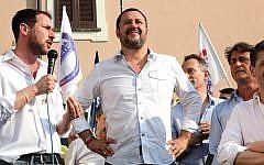 Italian Interior Minister Matteo Salvini, center, attends a local election rally in Cinisello Balsamo, near Milan, Italy, June 17, 2018 (Matteo Bazzi/ANSA via AP)