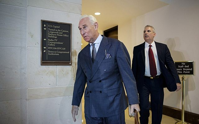 In this Sept. 26, 2017, file photo, longtime Donald Trump associate Roger Stone arrives to testify before the House Intelligence Committee, on Capitol Hill in Washington. (AP Photo/J. Scott Applewhite)
