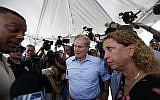 US Senator Bill Nelson, center, and Congresswoman Debbie Wasserman Schultz, right, denied entry by security into the Homestead Temporary Shelter for Unaccompanied Children, June 19, 2018. (AP Photo/Brynn Anderson)