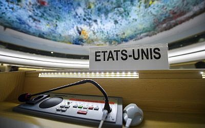 The US name sign is photographed one day after the United States announced its withdrawal at the 38th session of the UN Human Rights Council at the UN headquarters in Geneva on Wednesday. June 20, 2018. (Martial Trezzini/Keystone via AP)