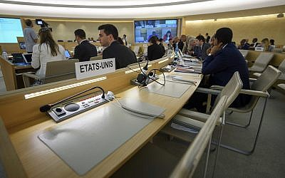 The US nameplate is photographed one day after the United States announced its withdrawal at the 38th session of the UN Human Rights Council at the UN headquarters in Geneva on June 20, 2018. (Martial Trezzini/Keystone via AP)