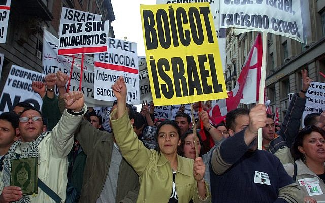 FILE -- A crowd protests against the Israel during a demonstration by an estimated 10,000 people in Madrid, Spain, Monday April 15, 2002 (AP Photo/Denis Doyle)