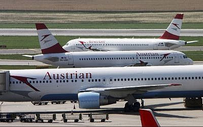 Austrian Airlines planes stand at Vienna-Schwechat airport in Vienna, Austria. (AP Photo/Ronald Zak, File)