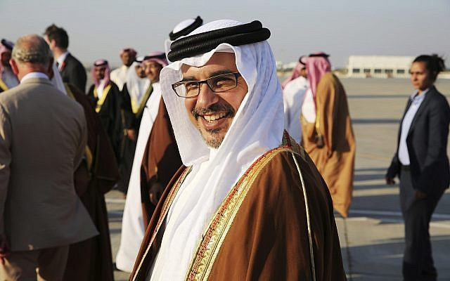 Bahrain's Crown prince Salman bin Hamad bin Isa Al Khalifa smiles while seeing off Britain's Prince Charles and wife Camilla in Manama, Bahrain, on Friday, Nov. 11, 2016. (AP/Jon Gambrell)