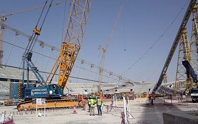 Construction work under way at the Khalifa Stadium in Doha, Qatar, November 9, 2014. (Rob Harris/AP)