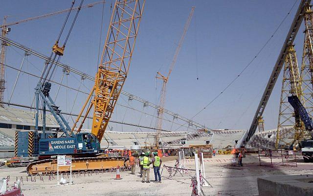 Construction work under way at the Khalifa Stadium in Doha, Qatar, November 9, 2014. (Rob Harris/AP)