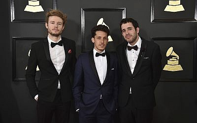 from left: Vania Heymann, Gal Muggia, and Natan Schottenfels arrive at the 59th annual Grammy Awards at the Staples Center on February 12, 2017, in Los Angeles. (Jordan Strauss/Invision/AP)