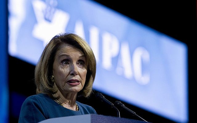 House Minority Leader Nancy Pelosi of California speaks at the 2017 American Israel Public Affairs Committee (AIPAC) Policy Conference, March 28, 2017, at the Washington Convention Center in Washington, DC. (AP Photo/Jose Luis Magana)