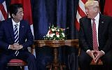 US President Donald Trump meets with Japanese Prime Minister Shinzo Abe during the G7 Summit, May 26, 2017, in Taormina, Italy. (AP Photo/Evan Vucci)
