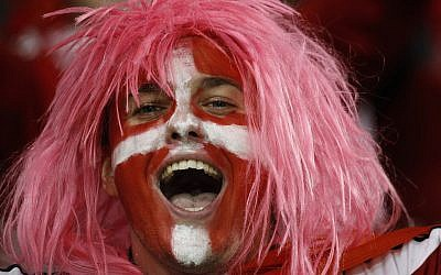 A Danish supporter cheers ahead of the World Cup qualifying play off second leg soccer match between Ireland and Denmark at the Aviva Stadium in Dublin, Ireland, Tuesday, Nov. 14, 2017. (AP Photo/Peter Morrison)