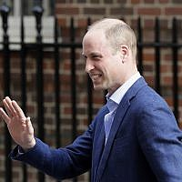 Britain's Prince William waves as he leaves the Lindo wing at St Mary's Hospital in London London, Monday, April 23, 2018. (AP Photo/ Kirsty Wigglesworth)