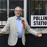 Illustrative: Britain's opposition Labour Party leader Jeremy Corbyn poses for photographers as he arrives to cast his vote for local council elections at a polling station in Holloway, London, May 3, 2018. (Victoria Jones/PA via AP)