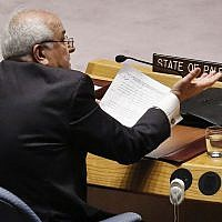 Palestinian Ambassador to the United Nations Riyad Mansour addresses the United Nations Security Council, Tuesday May 15, 2018 at UN headquarters. (AP Photo/Bebeto Matthews)