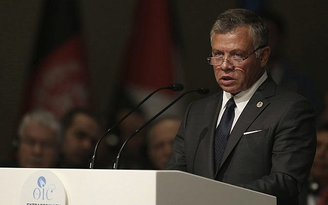 Jordan's King Abdullah II speaks in Istanbul, Turkey, May 18, 2018 (Turkey Presidential Press Service/Pool via AP)