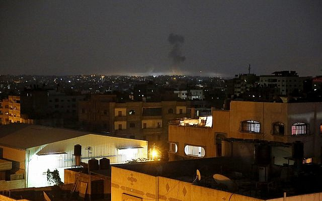 Illustrative. Smoke rises following an Israeli strikes on Gaza City, on May 30, 2018, after Palestinian terrorist groups bombarded southern Israel with dozens of rockets and mortar shells. (AP Photo/Hatem Moussa)