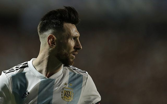 Argentina's Lionel Messi looks back during a friendly soccer match between Argentina and Haiti in Buenos Aires, Argentina, May 29, 2018. (AP Photo/Victor R. Caivano)