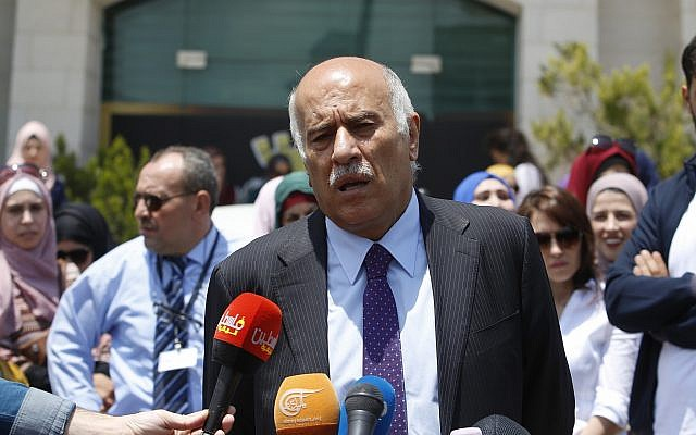 Head of the Palestinian Football Association Jibril Rajoub speaks during a press conference in front of Argentinian representative office in the West Bank city of Ramallah, June 3, 2018. (AP Photo/Nasser Shiyoukhi)