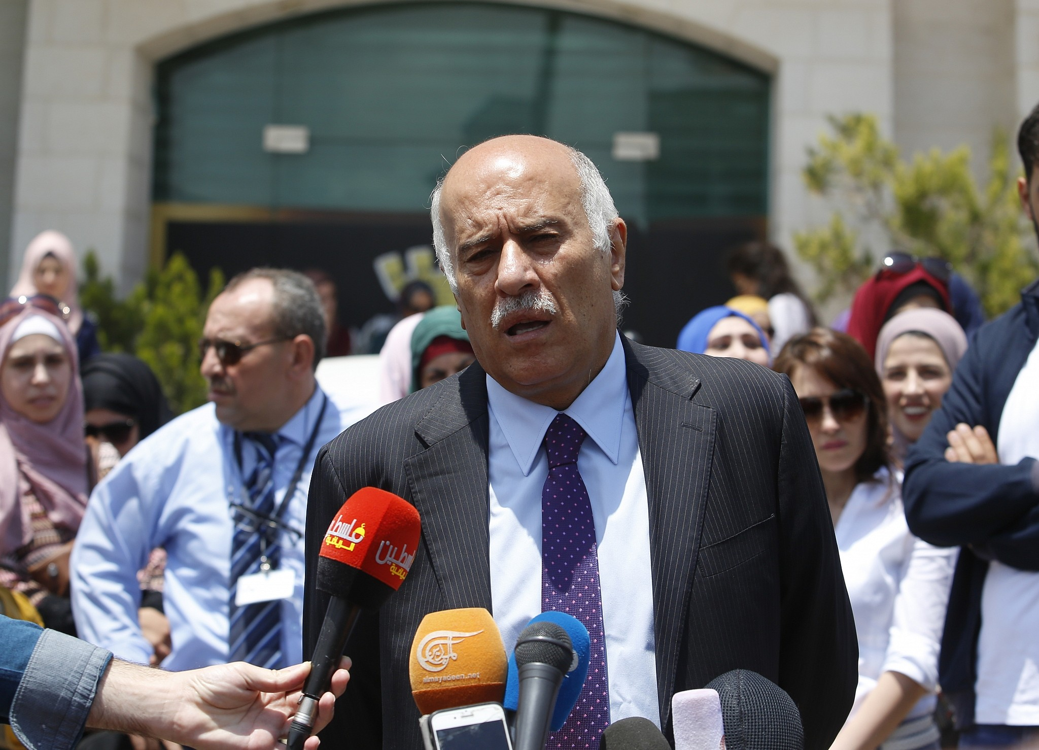 6a55a2e762c Head of the Palestinian Football Association Jibril Rajoub speaks during a  press conference in front of