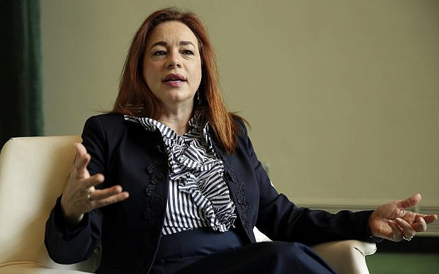 Ecuador's Foreign Minister Maria Fernanda Espinosa is interviewed at United Nations headquarters, Monday, June 4, 2018. (AP Photo/Richard Drew)