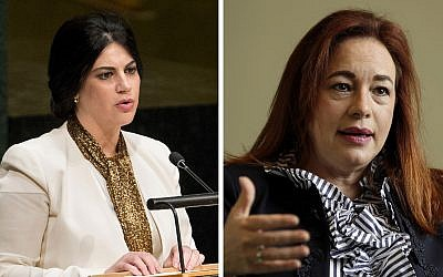 This combo of two file photos shows, left, Honduras' US Ambassador Mary Elizabeth Flores Flake addressing the U.N. General Assembly on Oct. 2, 2015, and right, Ecuador's Foreign Minister Maria Fernanda Espinosa being interviewed at UN headquarters on June 4, 2018. (AP Photos/Craig Ruttle, Richard Drew)