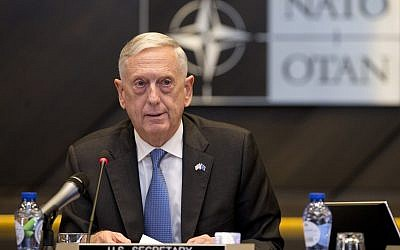 US Secretary for Defense Jim Mattis addresses a round table meeting of NATO ministers and partners to combat the Islamic State at NATO headquarters in Brussels, Friday, June 8, 2018. (AP Photo/Virginia Mayo, Pool)