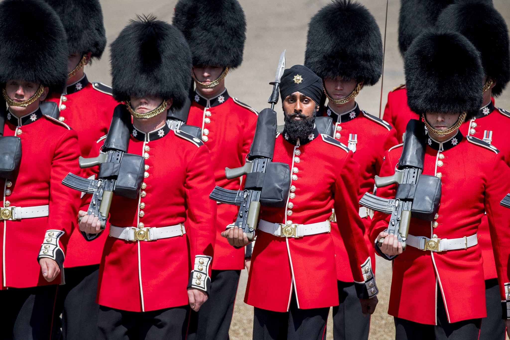 Charanpreet Singh Lall second right one of the Coldstream Guards marches during the Trooping the Colour ceremony at Horse Guards Parade as Queen Elizabeth II celebrates her official birthday in London