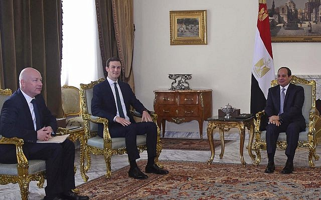 In this Thursday, June 21, 2018 photo, Egyptian President Abdel-Fattah el-Sissi, center, meets with US President Donald Trump's son-in-law and senior adviser Jared Kushner, second left, and Mideast envoy Jason Greenblatt on the latest stop in a regional tour to discuss a blueprint for an Israeli-Palestinian peace deal, in Cairo, Egypt. (MENA via AP)
