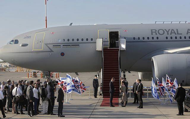 Britain's Prince William arrives on a Royal Air Force plane at Ben Gurion airport outside Tel Aviv, Israel on June 25, 2018.  (AP Photo/Sebastian Scheiner)