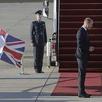 Britain's Prince William arrives on a Royal Air Force plane at Ben Gurion airport outside Tel Aviv, Israel, Monday, June 25, 2018. (AP Photo/Sebastian Scheiner)