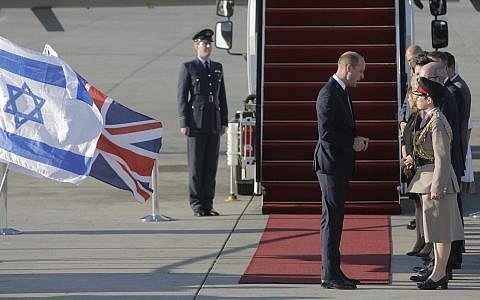 Britain's Prince William arrives on a Royal Air Force plane at Ben Gurion airport outside Tel Aviv, Israel, Monday, June 25, 2018. (AP Photo/Sebastian Scheiner)
