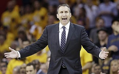 Then Cleveland Cavaliers head coach David Blatt reacts during the first half of Game 1 against the Chicago Bulls in a second-round NBA basketball playoff series May 4, 2015, in Cleveland. (AP Photo/Tony Dejak)
