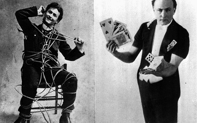 Magician Harry Houdini performs a rope escape, left, and a card trick in these undated photos. (AP Photo)