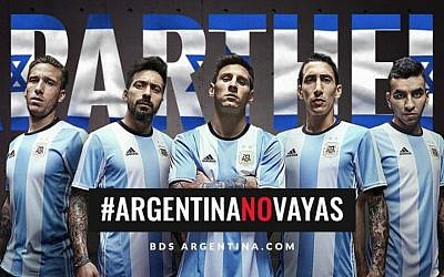 BDS Argentina's flier opposing the South American team's soccer match with Israel. (via JTA)