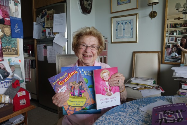 Dr. Ruth Westheimer in her Washington Heights, New York apartment. (Cathryn J. Prince/ Times of Israel)