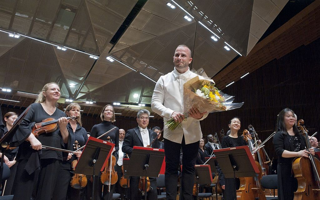 The Philadelphia Orchestra, with conductor Yannick Nezet-Seguin, after performing at the Bronfman Auditorium in Tel Aviv on June 4, 2018. (Maxim Reider/courtesy)