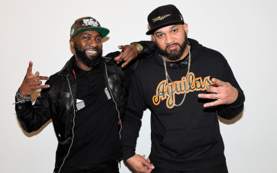 Desus Nice, left, and The Kid Mero in North Hollywood, California, April 20, 2018. (Charley Gallay/Getty Images for VICELAND/via JTA)