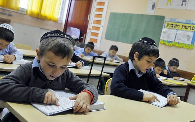Illustrative: Boys study in a Jewish school in Sarcelles, France, on October 03, 2010. (Serge Attal/FLASH90)