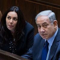 Prime Minister Benjamin Netanyahu (R) and Culture Minister Miri Regev in the Knesset on February 8, 2016. (Yonatan Sindel/Flash90)