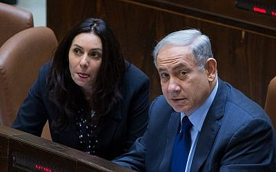 Prime Minister Benjamin Netanyahu (R) and Culture Minister Miri Regev in the Knesset on February 8, 2016. (Yonatan Sindel/Flash90)