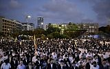 A Chabad rally in Rabin square in Tel Aviv, July 10, 2016. (Tomer Neuberg/FLASH90)