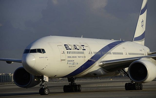 Illustrative. An El Al airline plane at Ben Gurion International Airport on August 17, 2016. (Tomer Neuberg/Flash90)