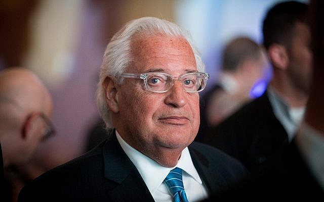 US Ambassador to Israel David Friedman attends the 6th Global Forum for Combating Anti-Semitism in Jerusalem on March 19, 2017. (Yonatan Sindel/Flash90)