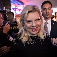 Sara Netanyahu attends a reception at the Foreign Ministry celebrating the opening of the US embassy in Jerusalem on May 13, 2018. (Hadas Parush/Flash90)