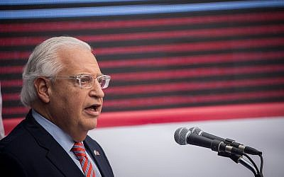 US Ambassador to Israel, David Friedman speaks at the official opening ceremony of the US embassy in Jerusalem on May 14, 2018. (Yonatan Sindel/Flash90)