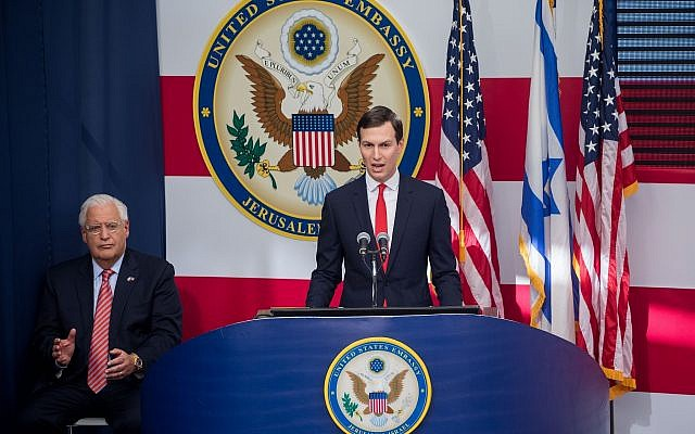 Senior Adviser to the US President Jared Kushner (r) speaks as US Ambassador to Israel David Friedman looks on at the official opening ceremony of the US Embassy in Jerusalem, May 14, 2018. (Yonatan Sindel/Flash90)