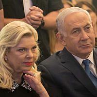 Prime Minister Benjamin Netanyahu, right, and his wife Sara in Jerusalem, on May 16, 2018. (Yonatan Sindel/Flash90)