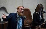 MK Yehuda Glick speaks during a plenum session at the Israeli parliament in Jerusalem on May 23, 2018. (Yonatan Sindel/Flash90)