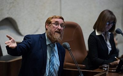 MK Yehuda Glick speaks during a plenum session at the Israeli parliament in Jerusalem on May 23, 2018. (Yonatan Sindel/Flash90)