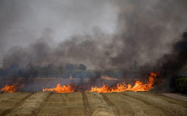 Firefighters extinguish a fire in a wheat field caused by kites flown by Palestinians from the Gaza Strip into Israel, May 30, 2018. (Yonatan Sindel/Flash90)