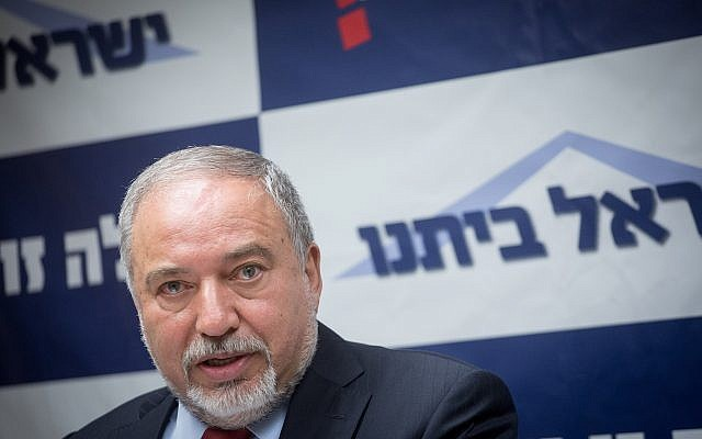 Defense Minister Avigdor Liberman leads a faction meeting of his Yisrael Beytenu party in the Knesset, on June 4, 2018. (Miriam Alster/Flash90)